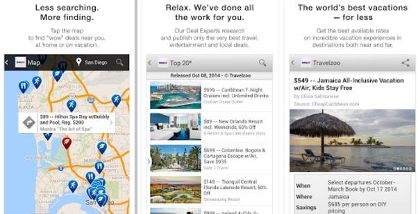 App de Travelzoo para encontrar ofertas y vuelos