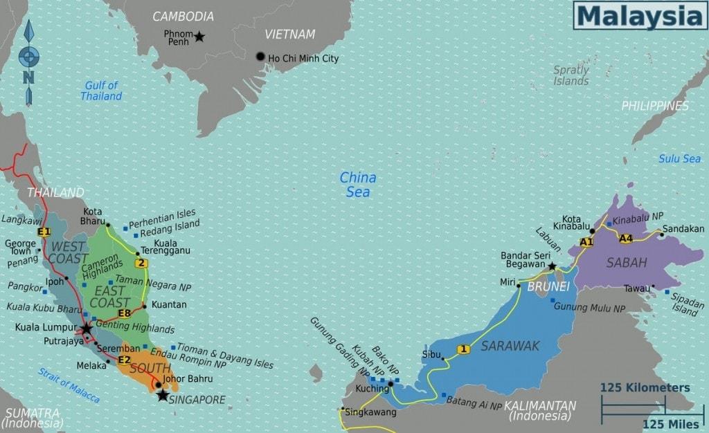 Principales ciudades y destinos turísticos en Malasia