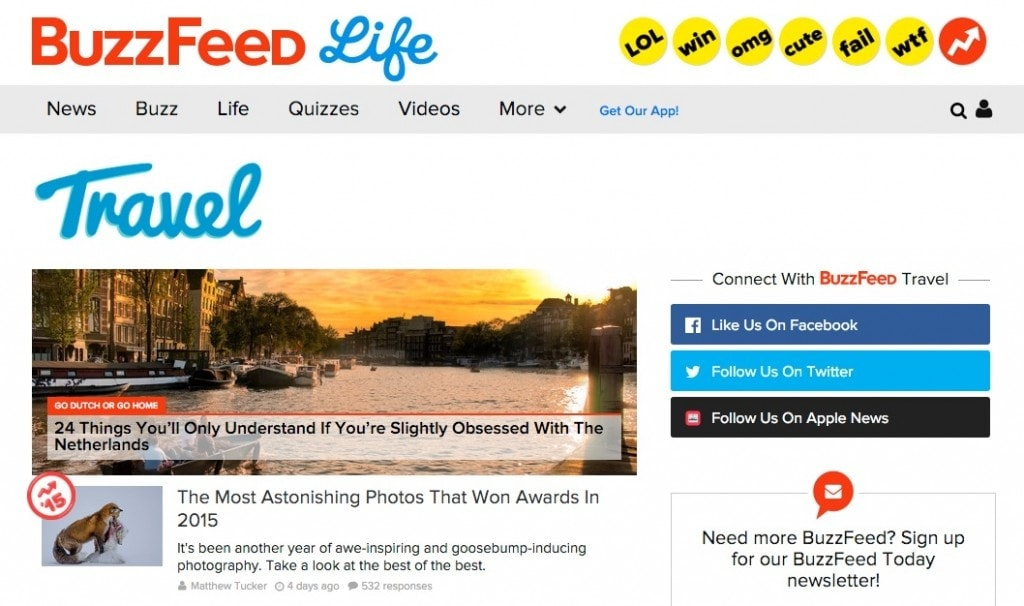 BuzzFeed Travel, una web para inspirarte para tu próximo viaje